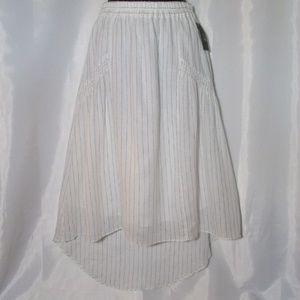 White pinstripe high low skirt